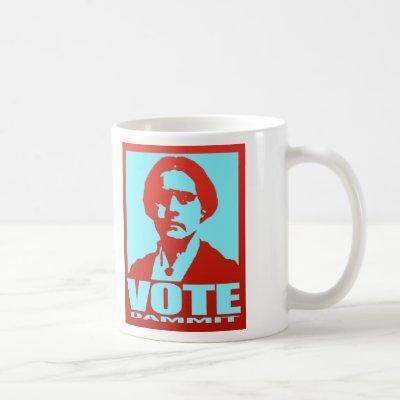 Susan B. Anthony Vote Dammit Pop Art Red and Aqua Coffee Mug