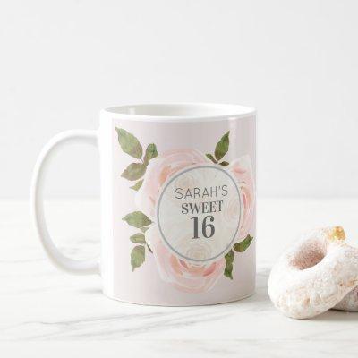 Sweet 16 Blush Pink Watercolor Floral Coffee Mug