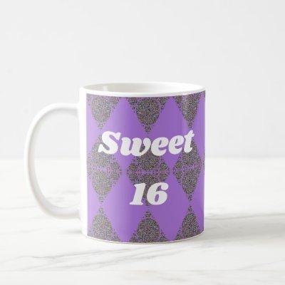 Sweet 16 Purple Diamond Pattern Celebration Coffee Mug