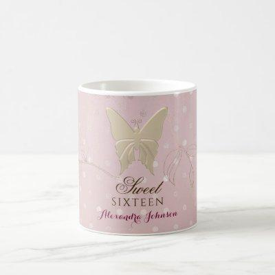 Sweet 16 Rose Gold Butterfly Name Coffee Mug