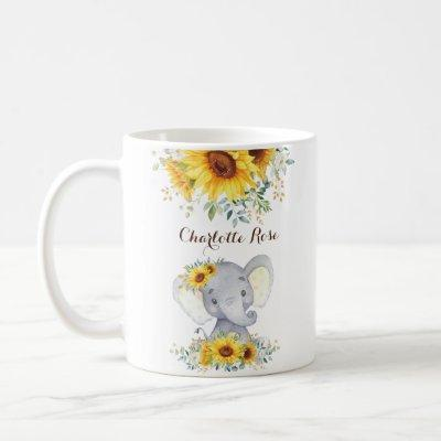 Sweet Baby Elephant Boho Watercolor Sunflowers Coffee Mug