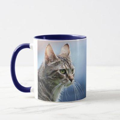 Tabby cat on the blue background. mug