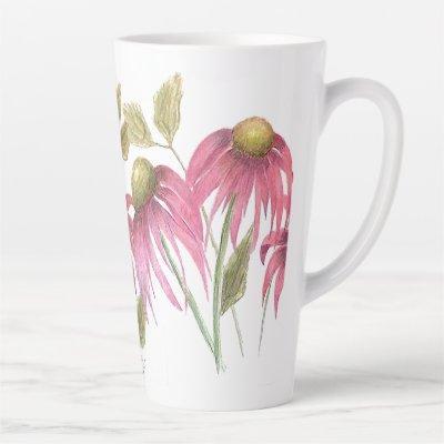 Tall coneflower mug. latte mug