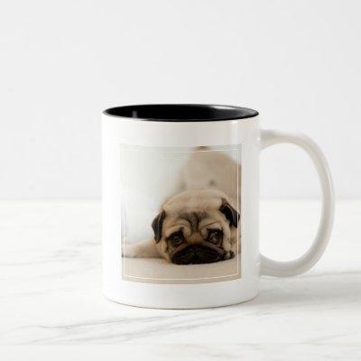 Tan Female Pug Two-Tone Coffee Mug
