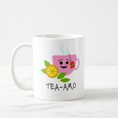 TEA-AMO | Funny Quote with Black Text and Pink Tea Coffee Mug