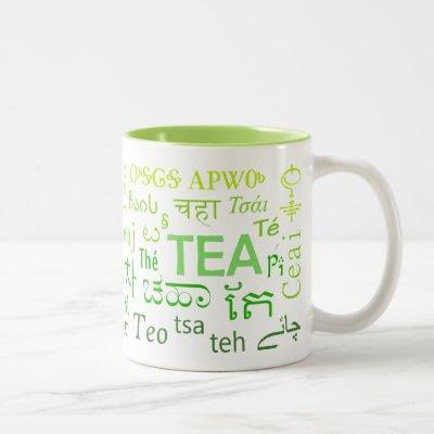 Tea in Every Language Mug in Green