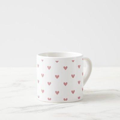 Tea Rose Pink Glitter Hearts Pattern Espresso Cup