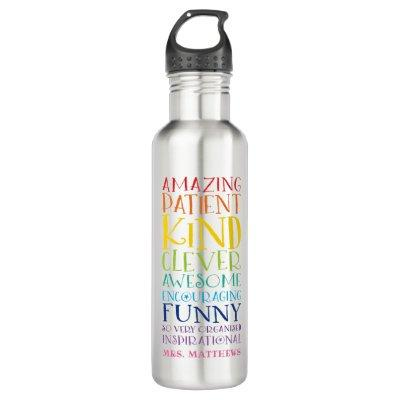 TEACHER GIFT colorful rainbow uplifting word stack Stainless Steel Water Bottle