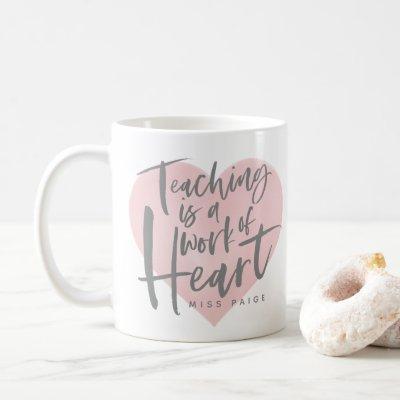 Teacher gift watercolor heart coffee mug