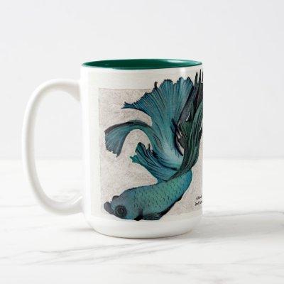 Teal Betta Fish Personalize Large Coffee Mug