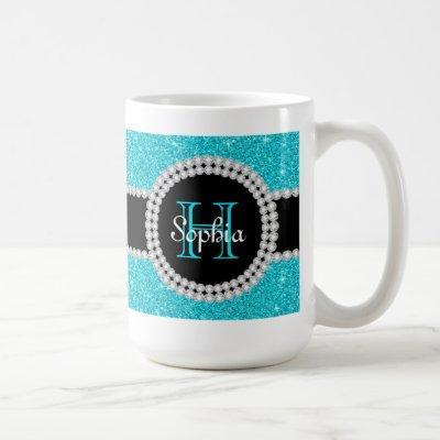 Teal Glitter Monogrammed Coffee Mug