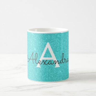 Teal Green Sparkle Glitter Monogram Name Coffee Mug