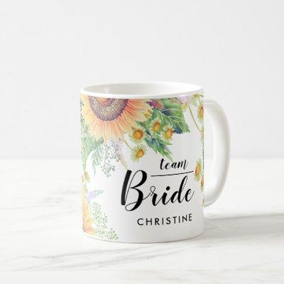 Team Bride. Bridesmaid Wedding Custom Gifts Mugs
