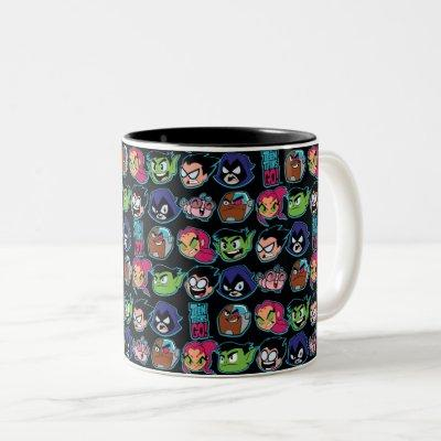 Teen Titans Go!   Titans Head Pattern Two-Tone Coffee Mug