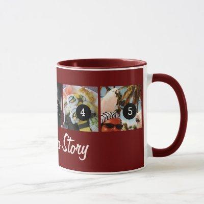 Tell Your Photo Story 5 images burgundy Mug