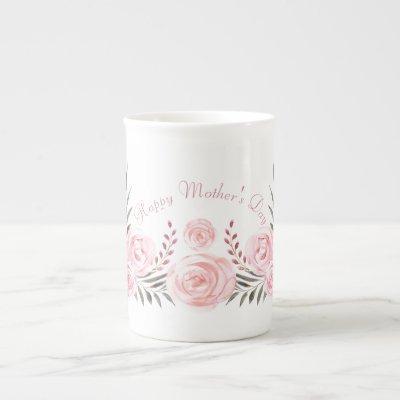 Tender Blushing Roses Personalized  Bone China Mug