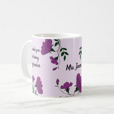 Thank You Teacher Purple Floral Appreciation Coffee Mug