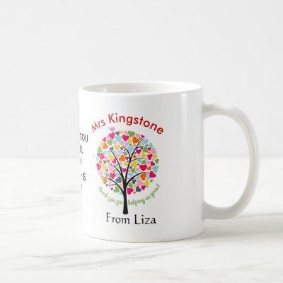 Thank you teacher rainbow apple tree gift coffee mug