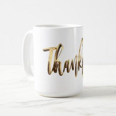 Thankful Elegant Faux Gold Script Thanksgiving Coffee Mug