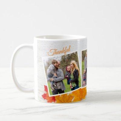 Thanksgiving Family Photo Elegant Thankful Blessed Coffee Mug