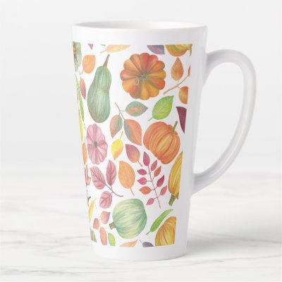 Thanksgiving pattern – pumpkins and leaves latte mug