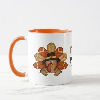 Thanksgiving turkey add monogram mug