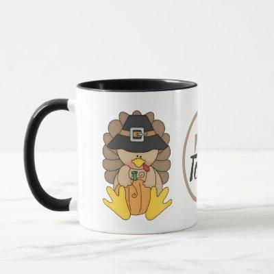 Thanksgiving turkey and pumpkins add monogram mug