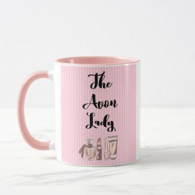 The Avon Lady, Elegant Stripes and Cosmetics Mug
