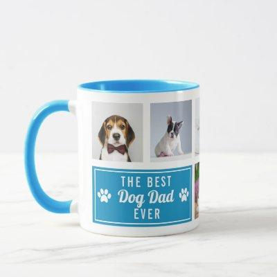 The Best Dog Dad Ever Blue Pet Collage Photo Mug
