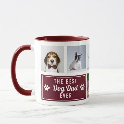 The Best Dog Dad Ever Burgundy Pet Collage Photo Mug