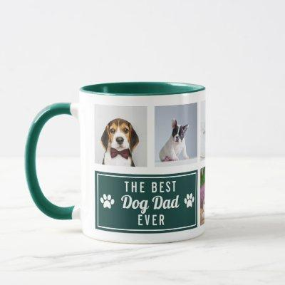The Best Dog Dad Ever Green Pet Collage Photo Mug