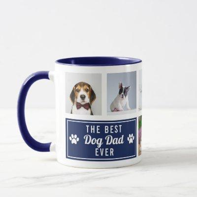 The Best Dog Dad Ever Navy Blue Pet Collage Photo Mug