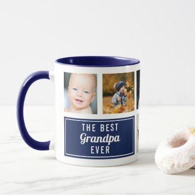The Best Grandpa Ever Navy Blue Collage Photo Mug