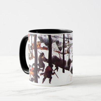 """""""The Hunters in the Snow"""" Fine Art Christmas Mugs"""