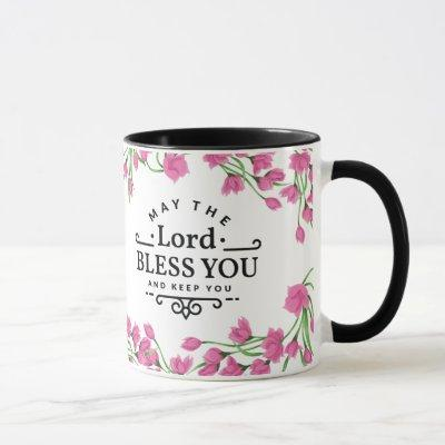 The Lord Bless you and Keep You Mug with Flowers