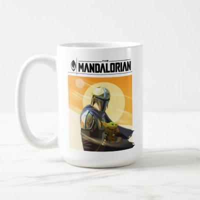 The Mandalorian and Child In Desert Illustration Coffee Mug