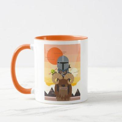 The Mandalorian and Child on Bantha Illustration Mug