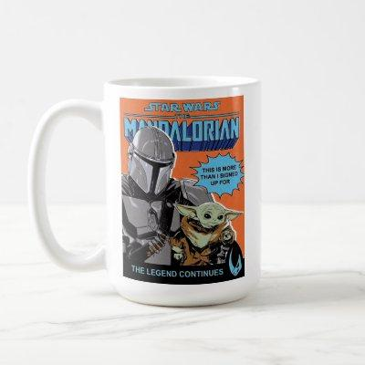 The Mandalorian and Child Retro Comic Style Cover Coffee Mug