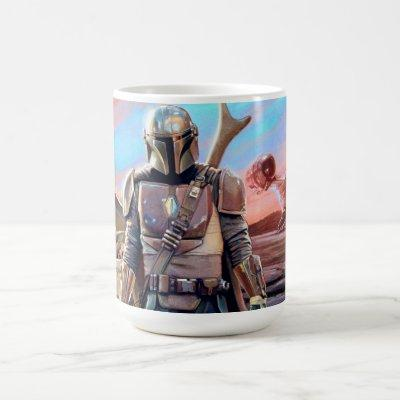 The Mandalorian And The Child At Sunset Coffee Mug