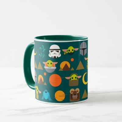 The Mandalorian and The Child Cute Travel Pattern Mug