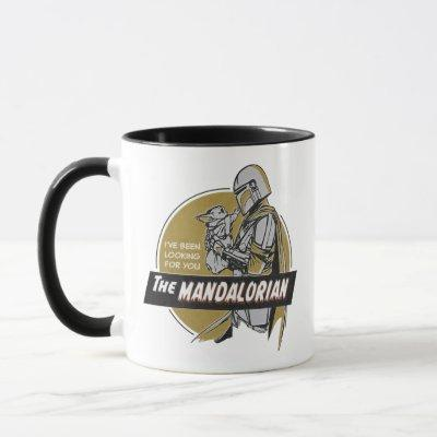 The Mandalorian Holding Child Retro Illustration Mug