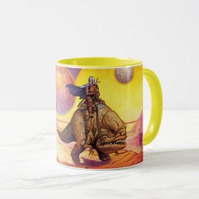 The Mandalorian Riding Blurrg Through Desert Mug