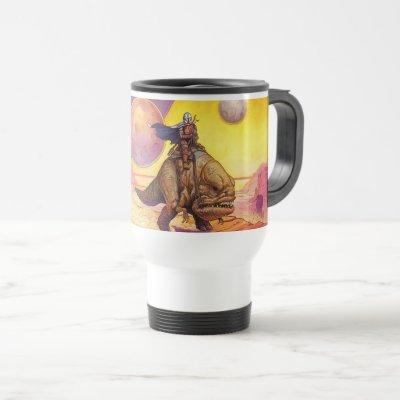 The Mandalorian Riding Blurrg Through Desert Travel Mug