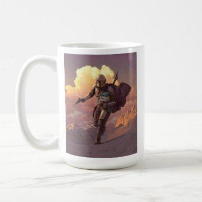 The Mandalorian Runs With Child Concept Painting Coffee Mug