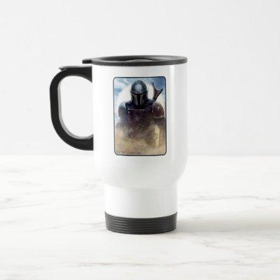 The Mandalorian Walking Through Desert Dust Travel Mug