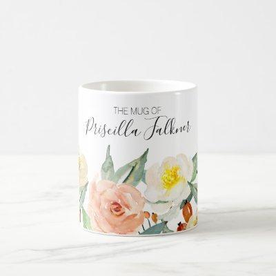 The Mug Of Modern Peach Watercolor Flowers