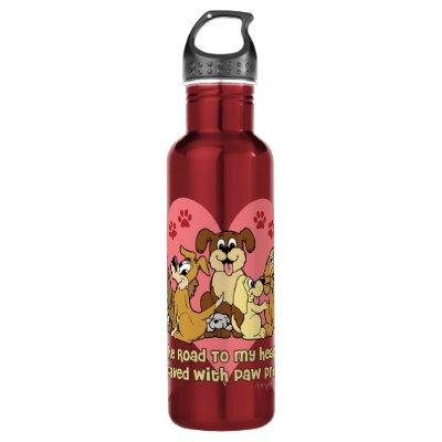 The Road To My Heart Dogs Stainless Steel Water Bottle