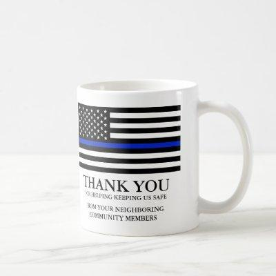 Thin Blue Line American Flag Custom Text Thank You Coffee Mug