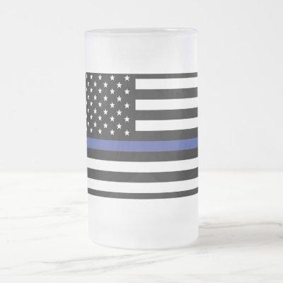 Thin Blue Line - American Flag Frosted Glass Beer Mug