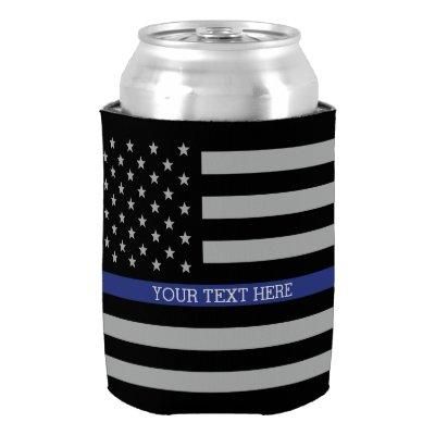 Thin Blue Line - American Flag Personalized Custom Can Cooler